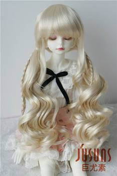 JD337 1/4 18-20cm MSD synthetic mohair BJD doll wigs 7-8inch double long pony braid wigs realfee pano fl bjd 1 7 aoaomeow