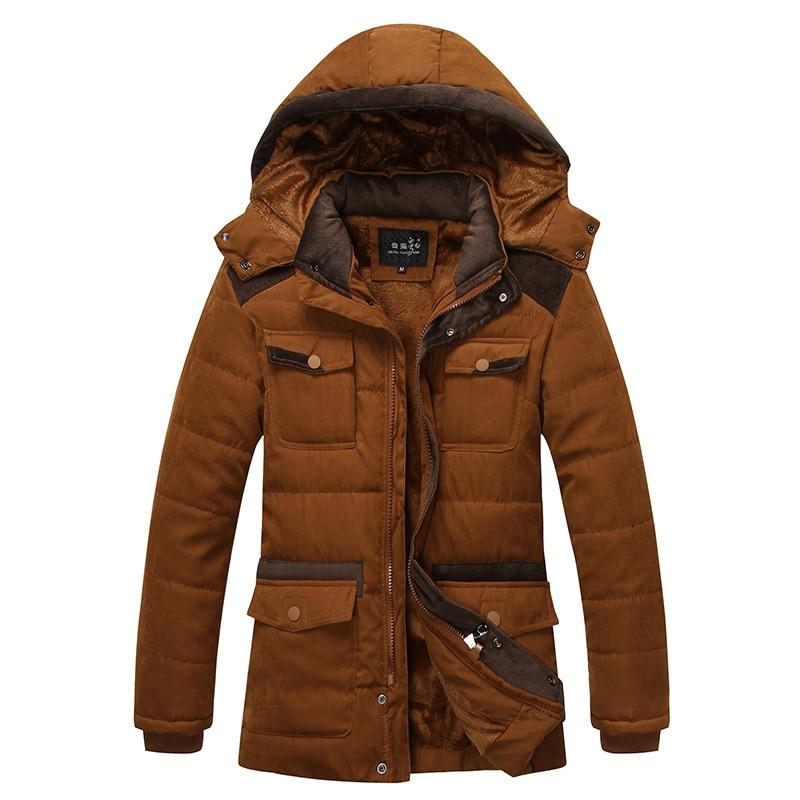 Icpans Winter Parkas Men Thicken Warm Fashion Zipper Stitching Coat jacket men's Casual Hooded Coat Jacket Plus Size XXXL Parka