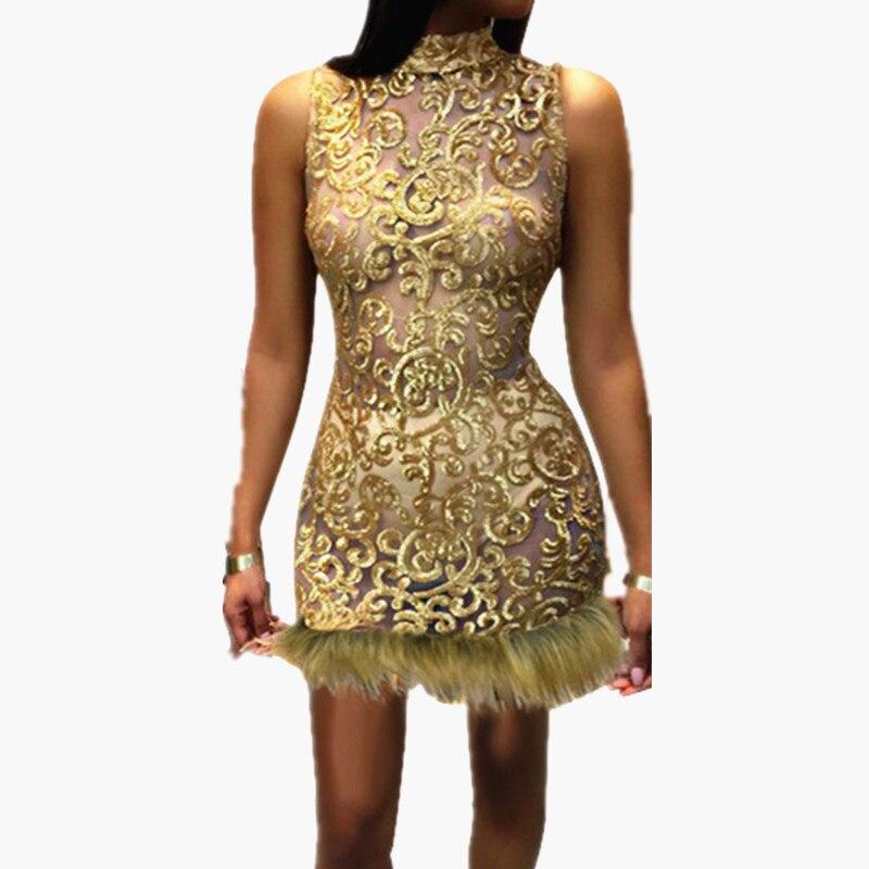 Куриные лапки 2019 Новое прозрачное плотное платье женское горячее блестящее пуха пикантное платье для ночного клуба платья