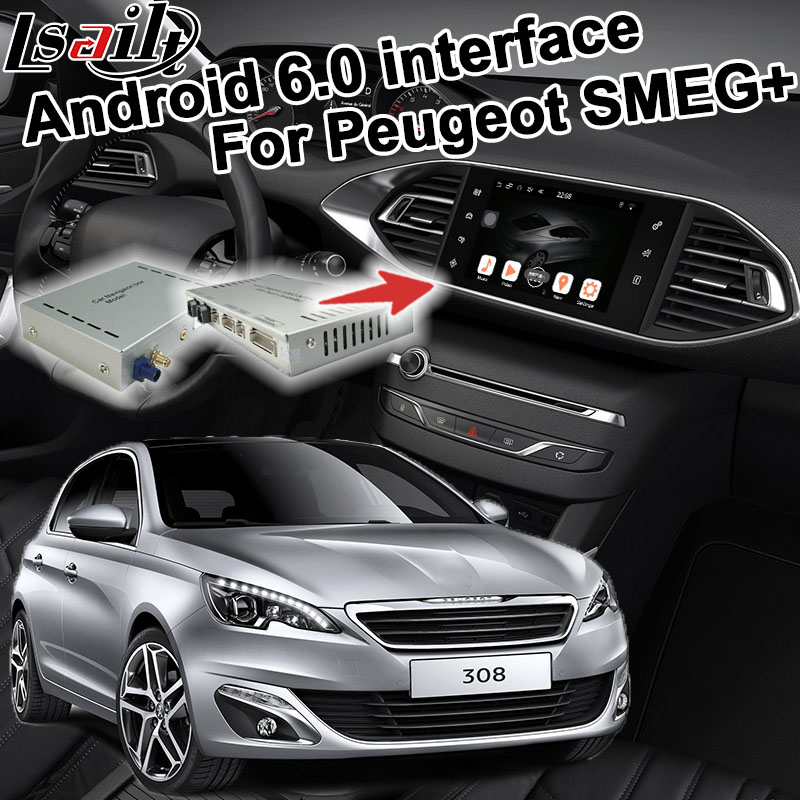 Android 6.0 GPS box navigation pour Peugeot 308 MRN SMEG + système vidéo interface boîte avec Carplay youtube waze yandex navi