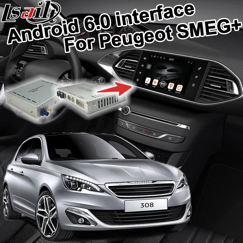 Android 6.0 boîte de navigation de généralistes pour Peugeot 308 MRN SMEG + système interface vidéo boîte avec Carplay youtube waze yandex navi