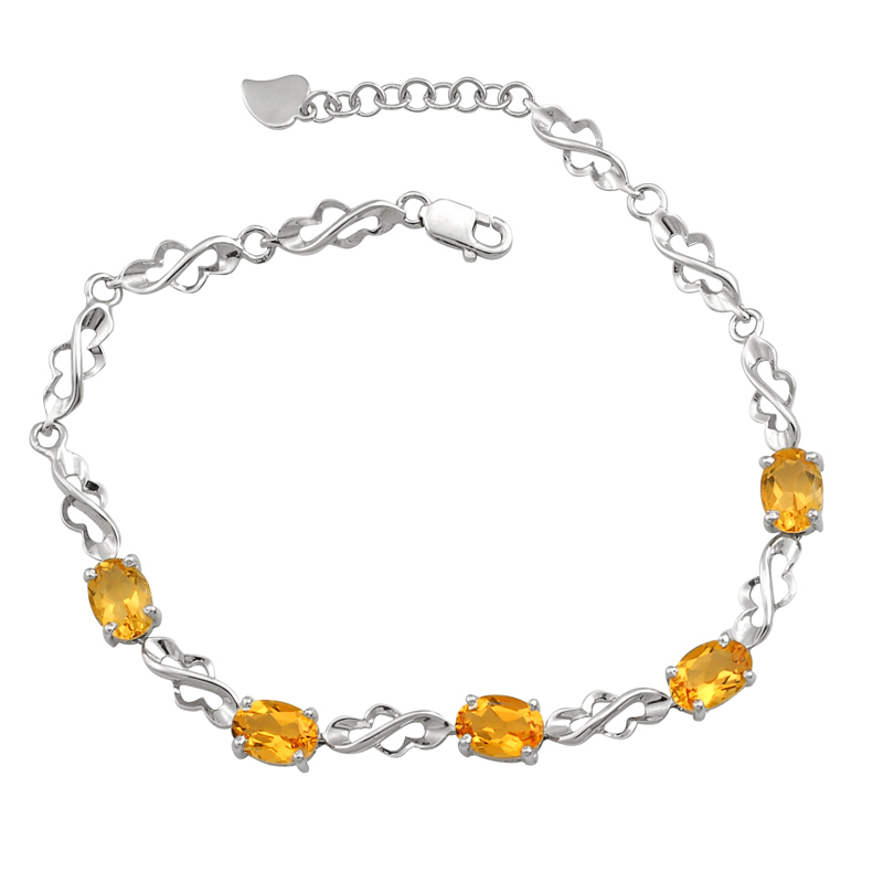 Natural Citrine Bracelet 925 Sterling silver Woman Fine Elegant Yellow Crystal Jewelry G ...