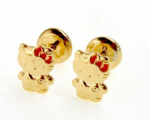 Gold 18k Gf O Kitty Earrings High Security Safety