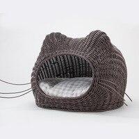 50 см Большой Размеры тканые полиротанга плетеная кровать для кота любимца корзина домик для щенка коврик для домашних животных летние Four