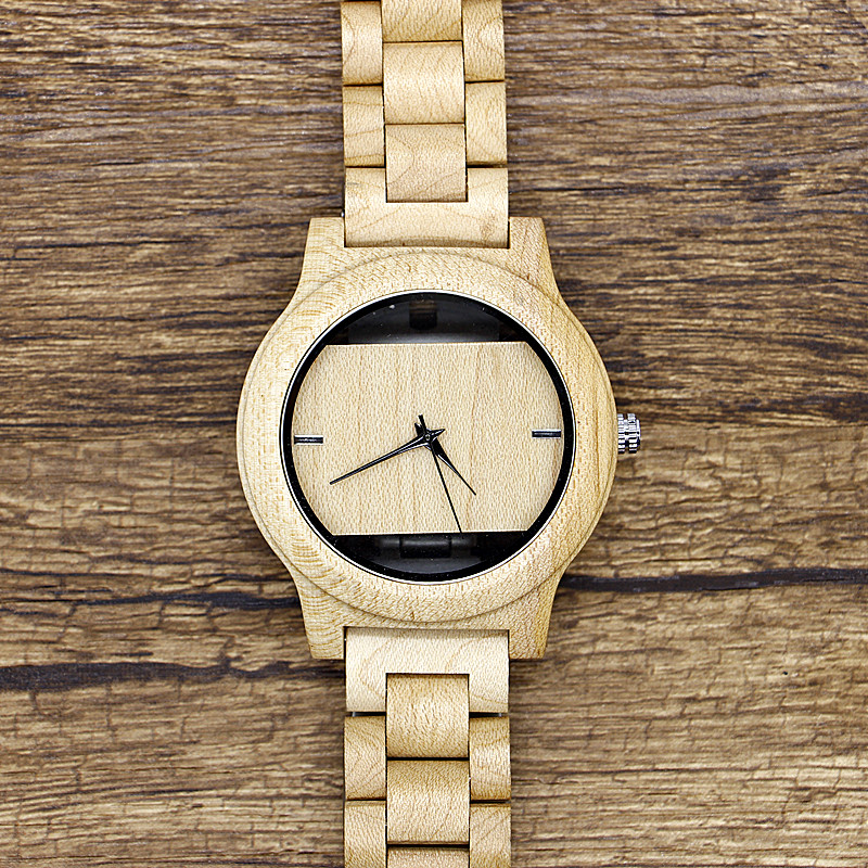 Brand Bosni Vintage Light weight Round Bamboo Wood Quartz Watches With Leather Bands for Women