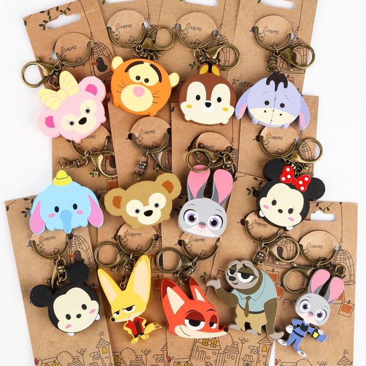 30 pcs Tsum Zootopia pendants lot anime Minnie Mickey Tigger Judy Nick Flash wood keychains cute mini key rings free shipping