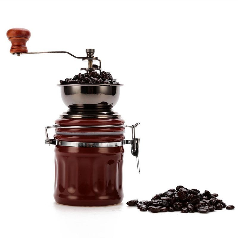 Vintage Porcelain Manual Coffee Grinder Stainless Steel Retro Coffee Spice Mini coffee Mill With High-quality Ceramic Millstone