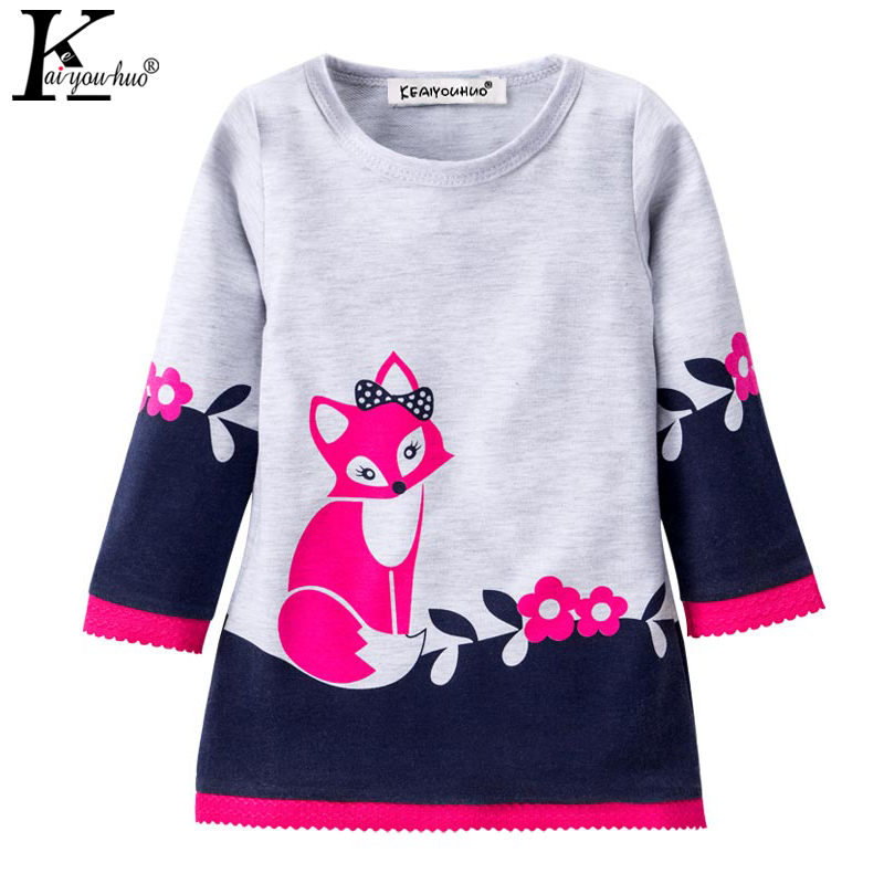 Christmas Girls Dress 2017 Winter Vestido Infant Long Sleeve Kids Clothes Cotton Fox Dresses For Girls Costume Children Clothing
