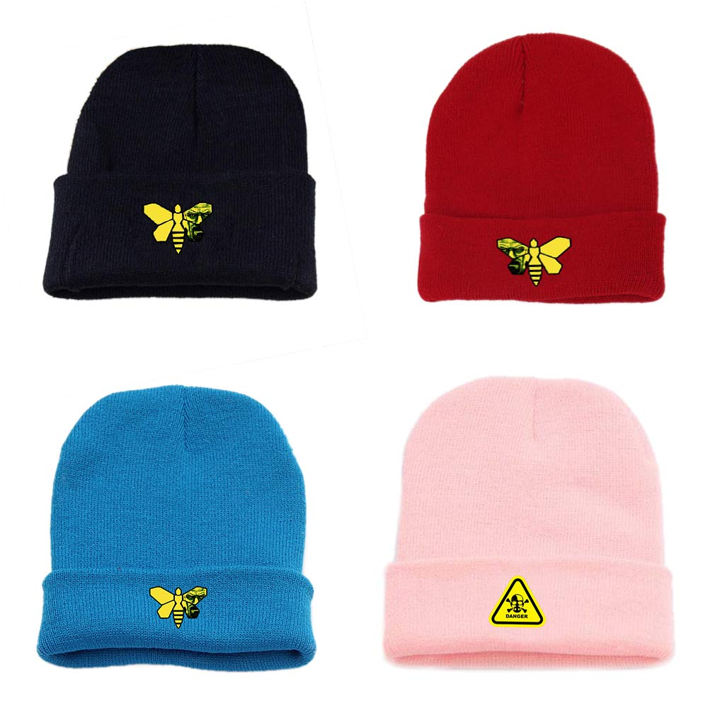 OHCOMICS Mens Women BreakingBad Pink Black Cotton Hat Knitted Hat Cap Hip-Hop Handsome Sleeve Casual Cap Costume Accessory Gift
