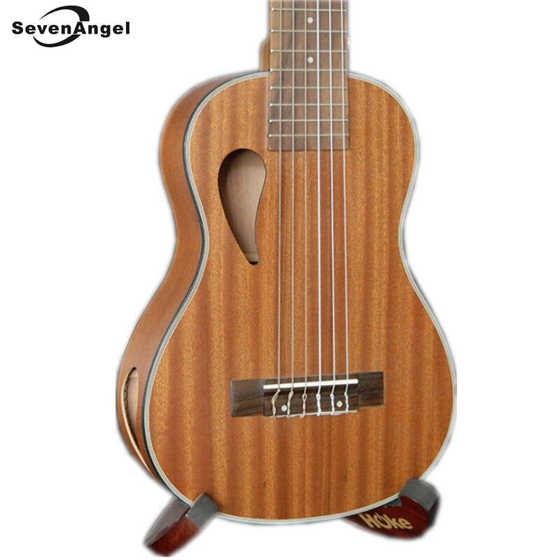Ukulélé SevenAngel 28 pouces 6 cordes guitare hawaïenne Ukelele Sapele Uku instrument de musique ukulélé électrique avec micro EQ