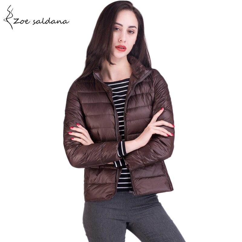 Zoe Saldana 2018 Autumn Ultra Light Down Jackets Women Long Sleeve Duck Down Jacket Slim Plus Size Winter Down Coat
