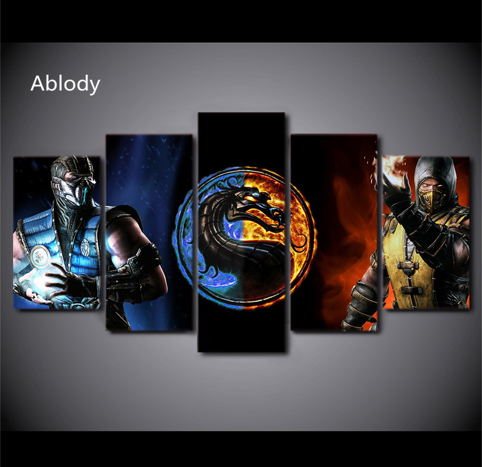 5Piece Wall Picture Printed Comic Star War Game Poster Mortal Kombat Painting Canvas Roomdecor Print Poster Canvas On The Wall