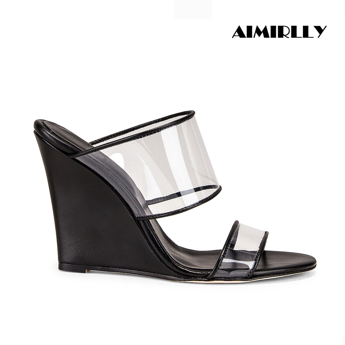 Aimirlly Women Shoes Peep Toe Wedges Heels Sandals Transparent PVC Straps Mules Slip On Summer Comfortable Slippers Casual