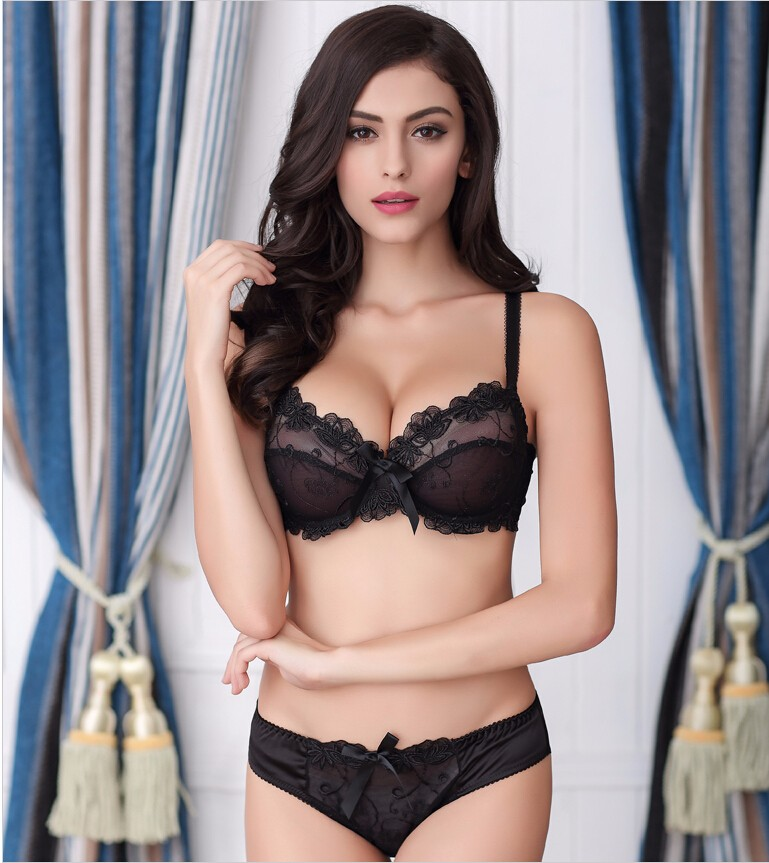 b561321977ff9 32 42 ABCD Sexy High Quality Women Print Bra set Silk Lace Flower Push up  Big size Underwear Bow Bra   Hollow out Panties-in Bra   Brief Sets from  Women s ...