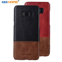 Case For Samsung Galaxy S8 S8 Plus KEZiHOME Luxury Hit Color Genuine Leather Hard Back Cover
