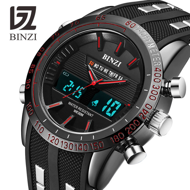 BINZI Luxury Watches Men Brand Sports Watches Led Digital Waterproof Watch Milit