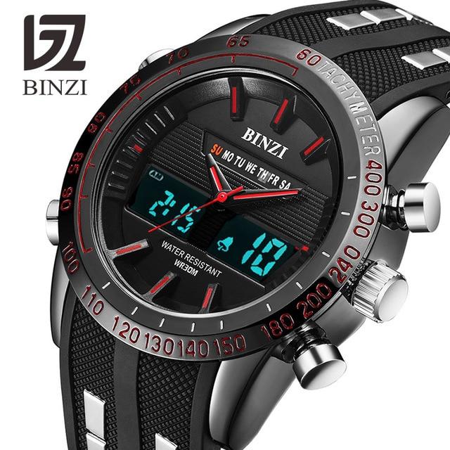 a5805e231d2 BINZI Relógios Homens Marca de Luxo Sports Relógios Led Digital À Prova D  Água  Relógio