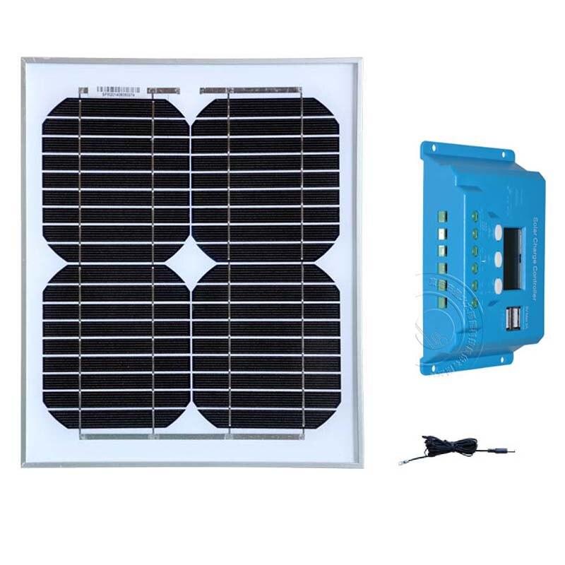 Zonnepaneel 12 volt 10 watt Cargador Regulator Solar Controller 12v/24v 10A LCDl Usb Mobilephone Camp Car Caravan Watch(China)