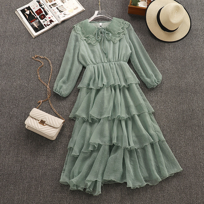 2019 Spring New Arrival Super Fairy Sweet Cascading Ruffle Layer Dress Chiffon Peter Pan Collar Vintage Dress Free Shipping
