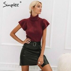 Image 3 - עור מפוצל נשים תחתון חצאית גבוהה מותן אבנט חגורת שיק נשי קצר חצאית שיק רוכסן המפלגה מועדון ללבוש גבירותיי חצאית
