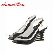Купить с кэшбэком High Wedge Heel Sandals Buckle Style Open Toe Transparent Shoes Women Summer Shoes Patent PU Sexy Summer New Shoes Women