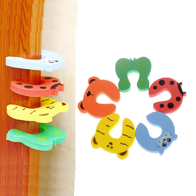 5PCS/ Cartoon Child Security Door Card File Environmental Protection Materials Baby door anti - Folder Hand Security door card