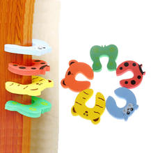 5PCS/ Cartoon Child Security Door Card File Environmental Protection Materials Baby door anti – Folder Hand Security door card