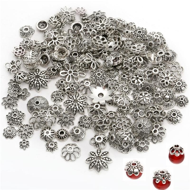150 шт./лот 4-15 мм, серебряные смешанные шапочки для бусин с различными узорами, концевые шапочки, аксессуары для изготовления ювелирных издел...