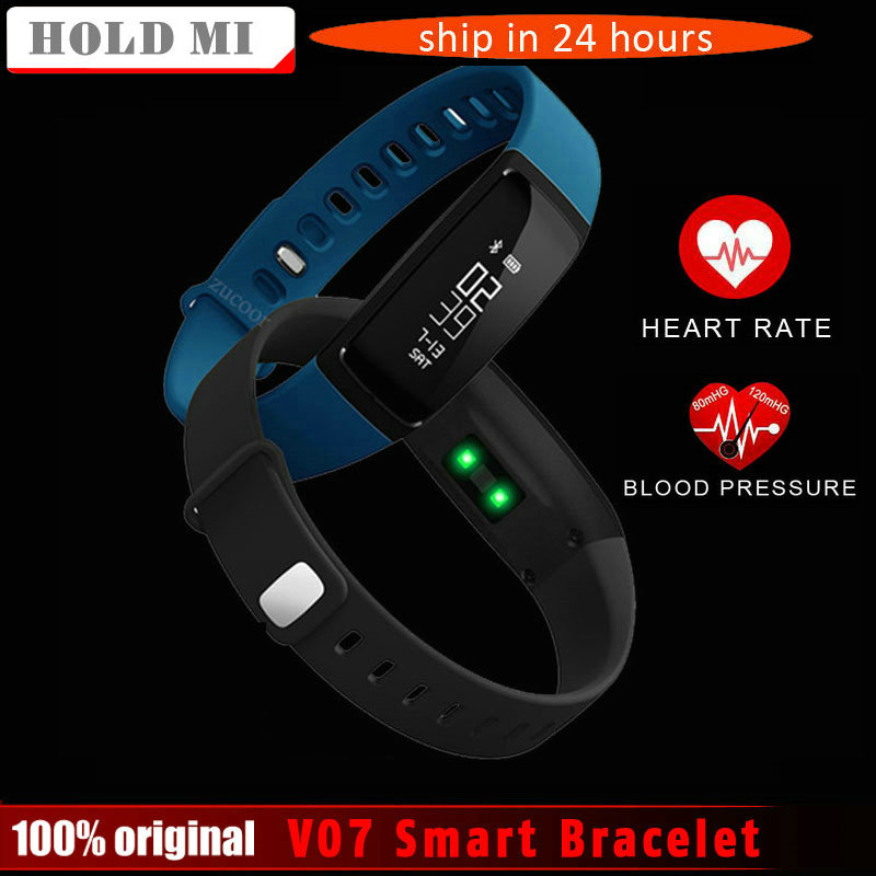 imágenes para La Presión arterial V07 Pulsera Inteligente Podómetro Inteligente Pulsera Smartband Heart Rate Monitor de Fitness Bluetooth Para Android IOS Teléfono