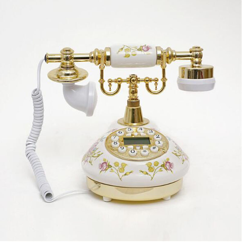 Ceramic Antique Rotary Landline Telephone With Call ID Date Clock Adjust Ring Without Battery Classical Phone For Home Office