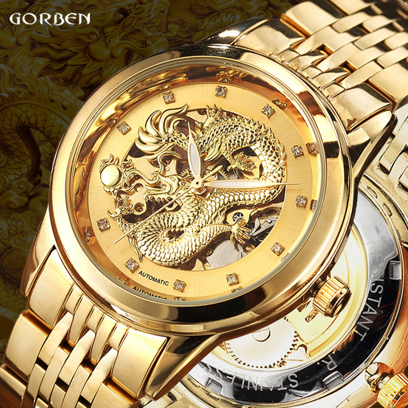 Luxury Dragon Skeleton Automatic Mechanical Watches For Men Wrist Watch Stainless Steel Strap Gold Clock Waterproof Mens relogio