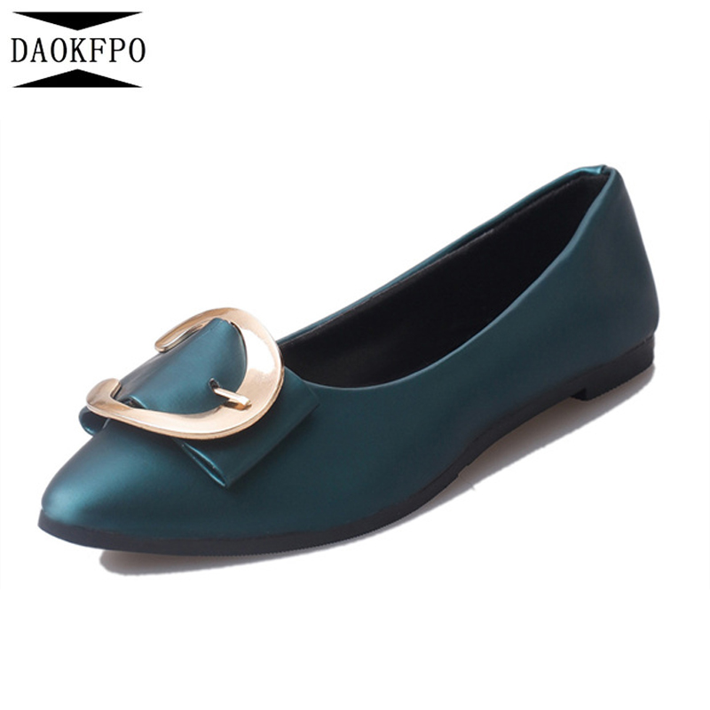 DAOKFPO New Women PU Leather Flats S Fashion Spring Autumn Casual Pointed Toe Ballerina Buckle Shoes Work Shoes NVD-03 women shoes 2016 high fashion shoes men spring summer women s flats casual shoes pu leather 2016