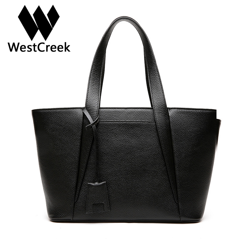 Westcreek Brand Genuine Leather Women Simple Handbag Cow Leather Large Capacity Female Tote Shoulder Crossbody Bag for Women westcreek brand genuine leather women handbag shoulder bag fashion design casual cow leather female crossbody bag lock bag