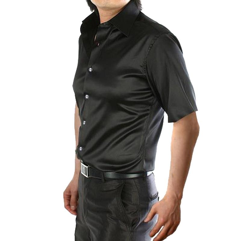 Новое поступление, летняя стильная шелковая Повседневная однотонная мужская рубашка с коротким рукавом, трендовая модная повседневная рубашка из искусственного шелка