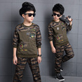 2017 Spring Fall Boys Cotton Camouflage Clothes Children's Clothing Set Kid Long-Sleeve Sport Suit Military Uniform Twinset G924