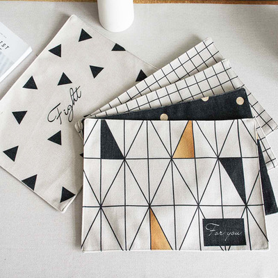 Double-layer Cotton And Linen Table Napkin Dish Cloth Black And White Europe Geometric Pattern Kitchen Towel Tea And Coffee Pad Home Textile