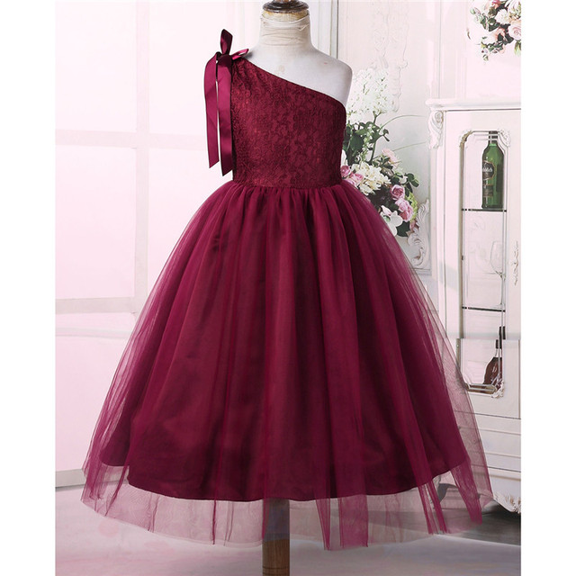 Embroidered Floral Lace Little Bridesmaid Dress Kids Girls Princess Dress One Shoulder Bowknots Wedding Birthday Party Dress