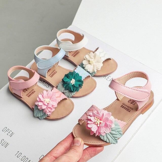 Flower Girls Sandals Baby Kids Hook Princess Beach Shoes 2019 Children's Sandals For Girl Summer Shoes sandalia infantil M18#25