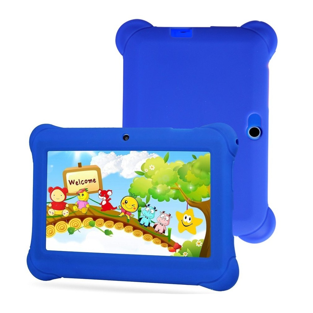 Cute 7 inch Colorful Case Kids Tablet 512MB+8GB 1024*600 Quad-Core Android 4.4 Smart Tablets PC Learning Tablet Best Child Gift