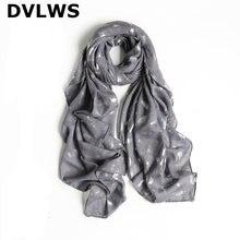 Женский шарф с серебряными перьями шаль на весну и осень мягкий