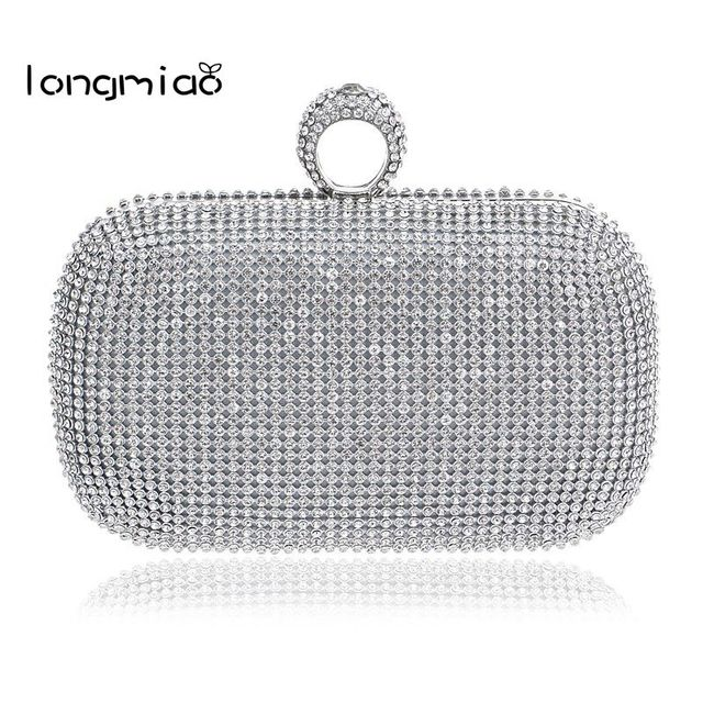 18afe02e858a0 longmiao Finger Clutch Diamond Studded Evening Bag Sparkle Spangle Clutch  Purse Women's Rhinestone Banquet Bag Day