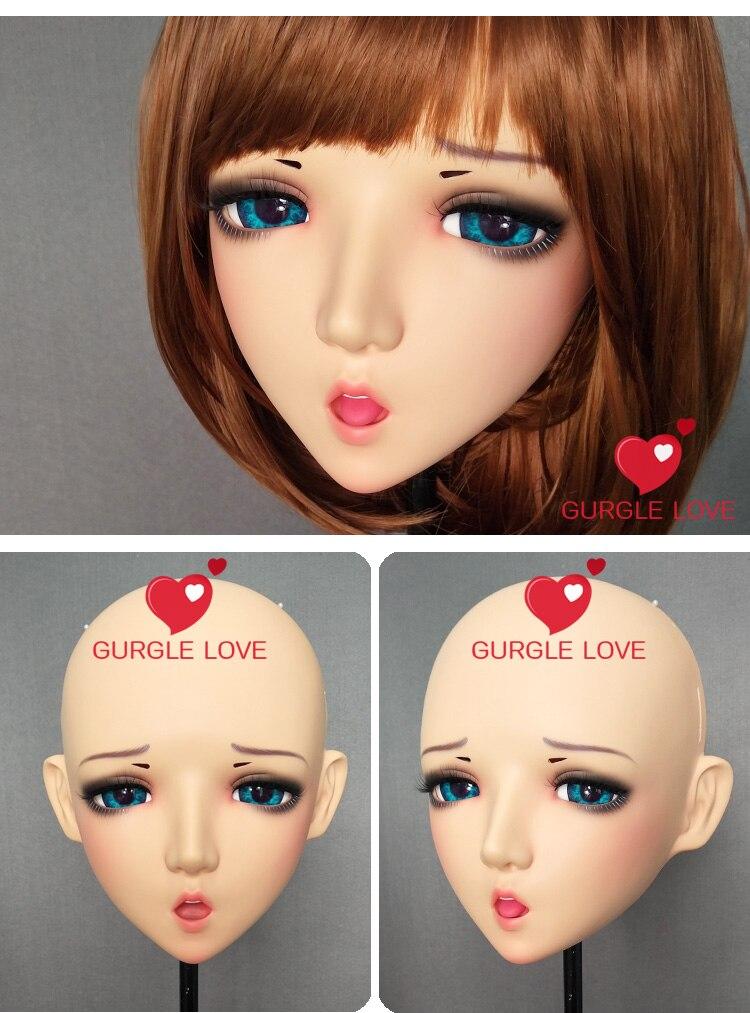 dm005 female Sweet Girl Resin Half Head Kigurumi Bjd Mask Cosplay Japanese Anime Role Lolita Lifelike Real Mask Crossdress Doll Kids Costumes & Accessories