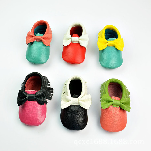 Mixed colors baby shoes Genuine leather baby moccasins indoor bow First Walkers Infant bebe Shoes free shipping