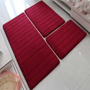 Image 4 - Alfombra moderna de espuma viscoelástica para baño tapete antideslizante para baño, felpudo para sala de estar, cocina, juego de 3 unidades