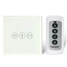 AOYAN EU Type Wireless Smart Curtain Wall Switch ,3 Color Crystal Glass Panel RF Switch,AC110 240V,with Remote Controller