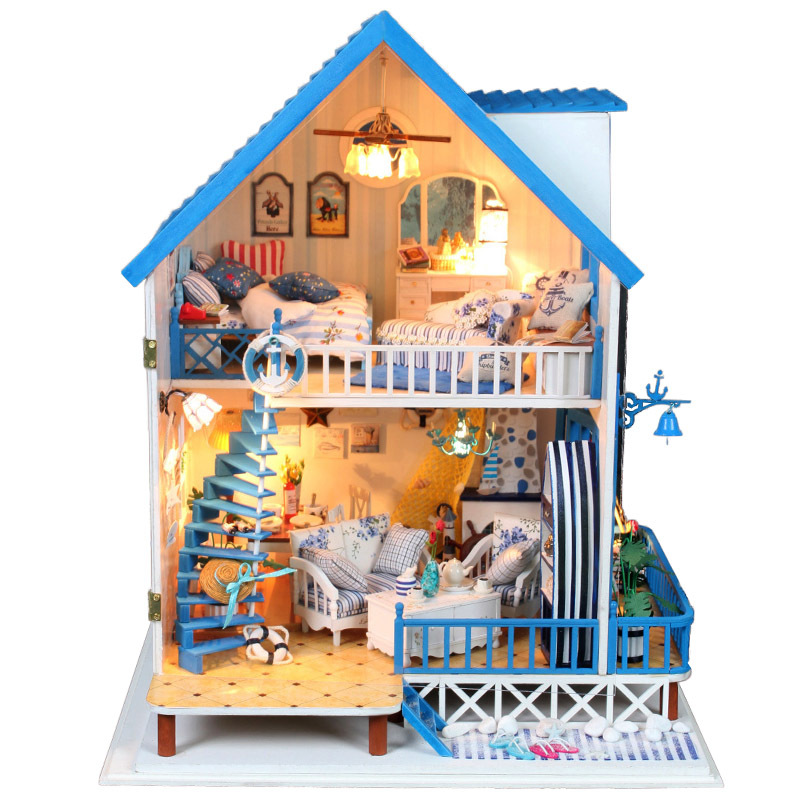 Miniature Aegean Sea Beach Villa Model DIY Doll House LED Light Wooden Dollhouse Furniture Kits Romantic Christmas Gift For Kids