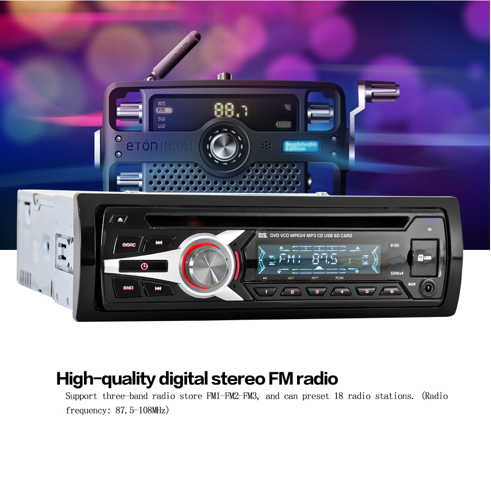 Kkmoon universal car stereo radio audio player cd dvd mp3 player with fm aux input sd