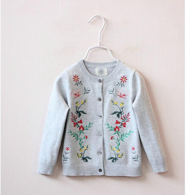 Y1592549 Retail 2016 New Spring Gril Sweater Solid Embroidery Flower Girl Cardigan Full Sleeve Girl Clothes Lolita