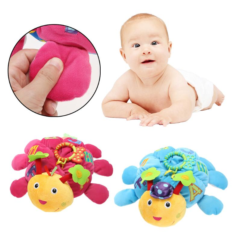 Cute Baby Funny Handbell Doll with Teether Baby Bed Crib Stroller Hanging Doll Grasping Bell Squeeze Sound Toy