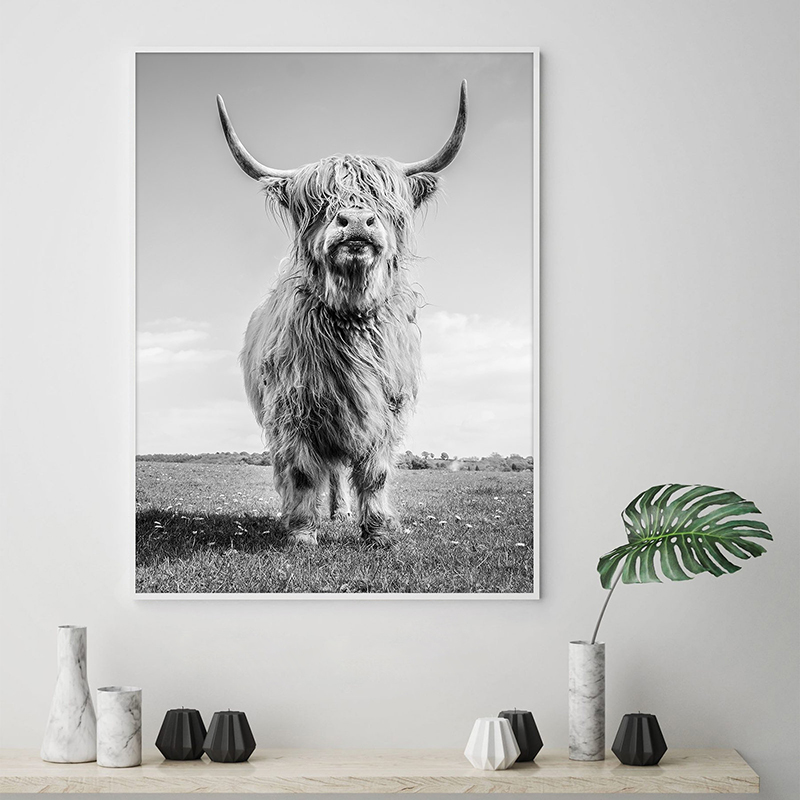 Highland Cow Canvas Painting Home Decor
